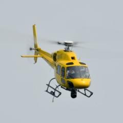 Elicottero della TV FIA in volo traslato sopra l'Autodromo Nazionale di Monza