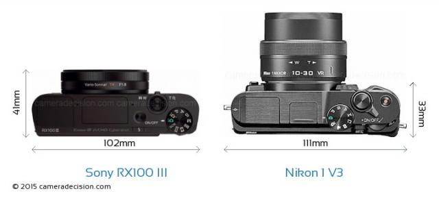 Immagine Allegata: Sony-Cyber-shot-DSC-RX100-III-vs-Nikon-1-V3-top-view-size-comparison.jpg